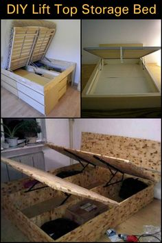 The bed is completely DIY, and will cost you less money compared to store-bought beds with storage. Luxury Furniture Brands, Online Furniture, Lift Up Bed, Lift Storage Bed, Mansion Bedroom, Built In Bed, Box Bed, Luxury Bedding Sets, How To Make Bed