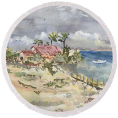 Plage Round Beach Towel featuring the painting Phare Du Cap Ferret - Hommage Famille David. by Francoise Chauray