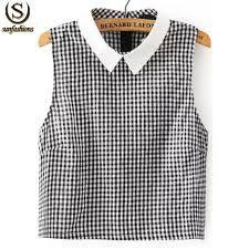 Resultado de imagen para ropa de cuadros blancos  y negros de los 50. (Gingham top with white collar.)
