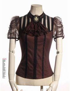 RQ-BL-Steampunk-Bluse-Gothic-Shirt-Victorian-Octopus-Brosche-Jabot-Vintage-SP087