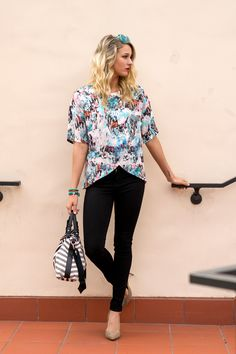 French Connection printed blouse at Taim boutique featured on oc style report