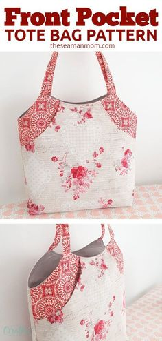 DEEP FRONT POCKET TOTE BAG PATTERN Create a one-of-a-kind front pocket bag by choosing colorful and coordinating fabrics for the bag, the pocket and the straps, for a chic yet low key custom look. Bag Patterns To Sew, Sewing Patterns Free, Free Sewing, Pattern Sewing, Crochet Purse Patterns, Sewing Hacks, Sewing Tutorials, Sewing Crafts, Bag Tutorials