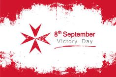 Popular grunge style vector for Malta's victory day on september 8  with the colors and red symbol of the country's flag.