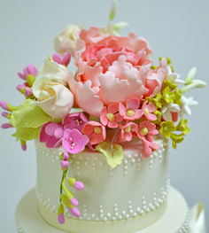 Totally amazing sugar craft flowers adorn this simple circular cake to create an elegant cake which would look amazing at any Vintage tea party. Gorgeous Cakes, Pretty Cakes, Amazing Cakes, Champagne Wedding Colors Scheme, Bolo Floral, Floral Cake, Sugar Paste Flowers, Creative Wedding Cakes, Just Cakes