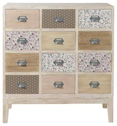 Wooden 12 drawer chest cabinet W Pimprenelle Decoupage Furniture, Upcycled Furniture, Cool Furniture, Painted Furniture, Furniture Design, Room Interior, Interior Design Living Room, Decoration Hall, Shabby