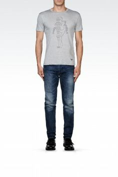 Camiseta Emporio Armani Men's Printed Cotton T-Shirt With Logo Light Grey M1T26JM1Q4J1100 #Camisetas #EmporioArmani