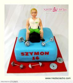 Gimnastyka, ciężarki, siłownia, tort dla sportsmena, tort urodzinowy, tort na urodziny