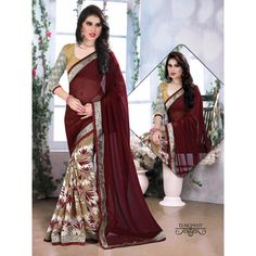 Buy Sareeline Maroon Faux Chiffon Saree by Mor Mukut Fashion, on Paytm, Price: Rs.2001