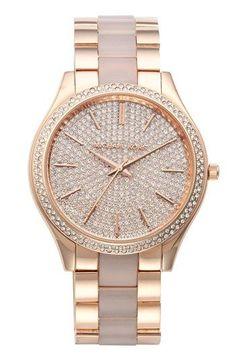 Michael Kors 'Slim Runway' Pavé Dial Plastic Link Bracelet Watch, 42mm available at #Nordstrom