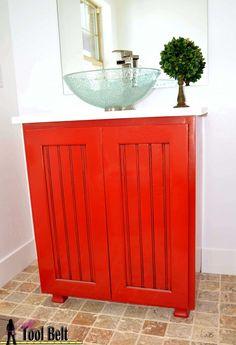 Free DIY plans for a bathroom vanity sink cabinet with bead board doors. Bathroom Vanity Decor, Modern Bathroom Tile, Bathroom Wall Cabinets, Contemporary Bathroom Designs, Bathroom Trends, Bathroom Interior Design, Vanity Sink, Diy Vanity, Vanity Cabinet