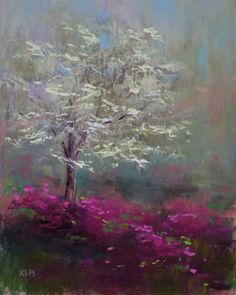 by KEM ✞ Art is the most intense mode of individualism that the world has known.pastel painting by Karen MargulisTrees and pink flora in nature / pastel paintingdogwood and azelasPainting My World: April 2010 Pastel Landscape, Landscape Art, Pastel Artwork, Pastel Paintings, Horse Paintings, Wow Art, Chalk Pastels, Soft Pastels, Chalk Art
