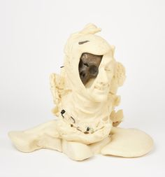 Process image of 'A lone dry skull' by Johan Thom, (builders foam, found objects) South African Art, Find Objects, Lion Sculpture, Skull, Clay, Statue, Water, Inspiration, Image