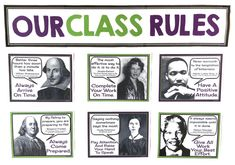 Bulletin Board Ideas For Middle & High School English - Presto Plans Middle School History, Middle School Ela, Middle School English, Middle School Decor, Class Rules Poster, Classroom Rules Poster, Classroom Ideas, Classroom Door, Classroom Design