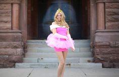 DIY Sleeping Beauty/ Princess Aurora costume! Video tutorial. TheSorryGirls has 5 Disney princess costumes for Halloween! modify