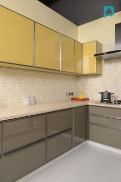 L Shaped Kitchen Interior, L Shaped Modular Kitchen, Small House Interior Design, Modern Kitchen Interiors, Interior Design Kitchen, L Shape Kitchen, Kitchen Design Open, Kitchen Layout, Kitchen Designs