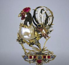 Pendant in the shape of a cockerel, possibly Germany, c. 1600-1610