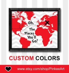 Dr seuss oh the places youll go printable instant download red black oh the place youll go kid art world map nursery dr seuss gumiabroncs Image collections