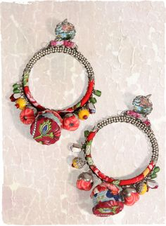 Jewelry Earrings Temple Bell Earrings - arty hoop earrings, fringed with baubles and crystals. Jewelry Crafts, Jewelry Art, Jewelry Accessories, Handmade Jewelry, Jewelry Design, Textile Jewelry, Fabric Jewelry, Ethnic Jewelry, Temple Bells