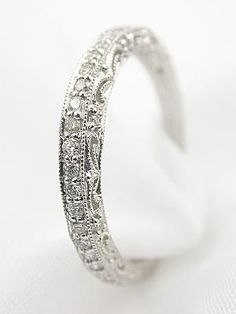 Filigree and Diamond Antique Style Wedding Band