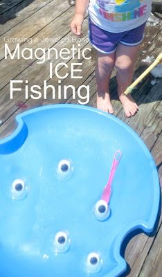 Make a batch of magnetic ice fish and go ICE fishing- how cute is this?  Such a fun way for kids to play and explore on a hot day while also staying cool!  Easy to set up, too!