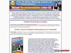cool Recommendation letter toolkit offering information, tips, and 89 downloadable templates for writing all types of letters of recommendation for business, personal, employment, and college admission purposes.