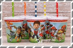 Paw Patrol Birthday Party Cups-Kids Party Set of by PartyCupMedley