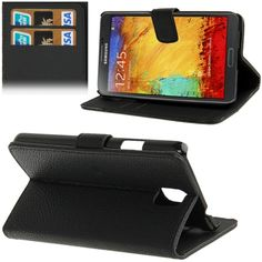 [$2.02] Litchi Texture Leather Case with Credit Card Slots & Holder for…