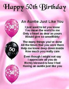 Personalised Fridge Magnet - Auntie Poem - 50th Birthday  +  FREE GIFT BOX