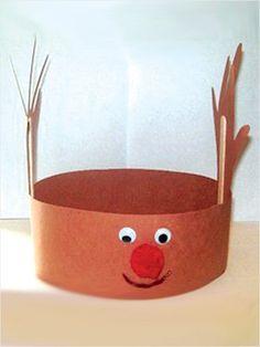 Handprint Reindeer Hat: -2 pieces of brown construction paper  -Popsicle sticks  -Googly eyes  -1 red pompom  -Scissors  -Craft glue  -Red marker