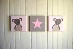 Décoration murale Souris Rose pour chambre d'enfant -Tableau pour chambre d'enfant - Cadeau de naissance : Décoration pour enfants par fees-et-rires