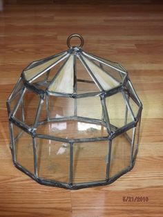 Antique LEADED SLAG GLASS Octagon TERRARIUM Arts & Crafts or Victorian