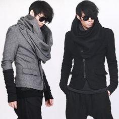 Cowl neck Queer Fashion, Dark Fashion, Asian Fashion, Fashion Outfits, Womens Fashion, Mode Alternative, Apocalyptic Fashion, Look Man, Future Fashion