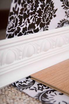 Stage a room.... fabric wall, baseboard and wood floor.  DIY Photo Backdrop