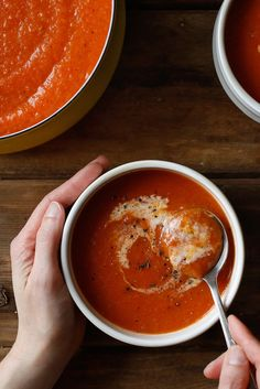 A generous swirl of half and half adds richness to this tomato soup, and the unexpected addition of honey lends a subtle, earthy sweetness. Just add grilled cheese. (Photo: Craig Lee for The New York Times)