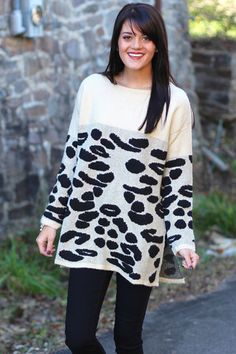 Wild About You Leopard Sweater {Beige+Black} - The Fair Lady Boutique - 1