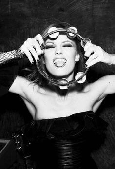 Vanessa Paradis | singer | 03 | laugh | tambourine | portrait | candid | bw | 1:2 | ram2013