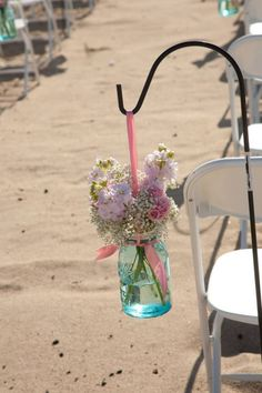 Mason Jar wedding reception decor centerpieces beach wedding