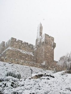 Tower Of David Under Snow Storm, Israel