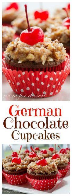 German Chocolate Cupcakes #savingroomfordessert #cupcakes #chocolatecupcakes #germanchocolate #dessert #baking