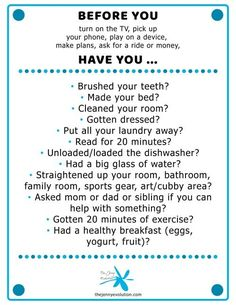 This Poster Should Be Hanging in Every Kid's Home! POSTER - NO ELECTRONICS BEFORE. Get kids away from those screens and interacting with the world! save your sanity. This poster should be hanging in every kid's house! - New Ideas Rules For Kids, Chores For Kids, Activities For Kids, Parenting Advice, Kids And Parenting, Single Parenting, Kids Schedule, Chore Chart Kids, Weekly Chore Charts