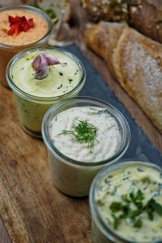 Recipe for 4 quick & savory spreads – perfect for grilling [Kräuter/Knoblauch/Lachs/Paprika-Feta] – Herzhaft Salmon Recipes, Veggie Recipes, Appetizer Recipes, Snack Recipes, Drink Recipes, Barbecue Sauce Recipes, Grilling Recipes, Bbq Sauces, Fingers Food