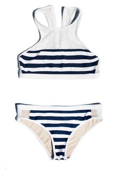 Alexander Wang stripe mesh swimsuit