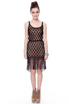 Lucy Fringe Knit Dress in Black $45 at www.tobi.com