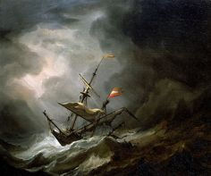 Willem van de Velde the Younger (1633–1707)   Title: A Mediterranean Brigantine Drifting Onto a Rocky Coast in a Storm