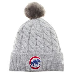 8445d424bea Chicago Cubs Women s Grey Thick Knit Crawl Bear Logo Toasty Pom by New Era   Chicago
