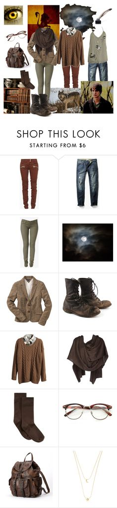 """""""young Remus John Lupin - Moony (Harry Potter)"""" by smol-snowflake ❤ liked on Polyvore featuring Balmain, National Geographic Home, MANGO MAN, Hudson Jeans, Tommy Hilfiger, Retrò, Viktor & Rolf, Hue, Frye and Accessorize"""