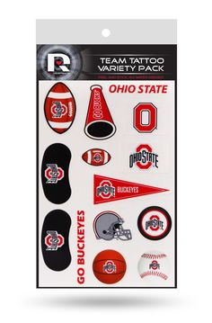 Ohio State Buckeyes Temporary Tattoos Team Variety Pack 14 pieces Free Shipping