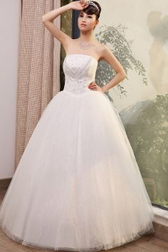 Strapless Elegant Ivory Wedding Gown - Order Link: http://www.theweddingdresses.com/strapless-elegant-ivory-wedding-gown-twdn0357.html - Embellishments: Ruched , Sash , Sequin; Length: Floor Length; Fabric: Tulle; Waist: Natural - Price: 153.18USD