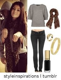 grey sweater,black jeans,scarf......