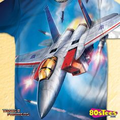 Sublimated Seeker Starscream Transformers Shirt made by 80sTees.com in collections: 80s Cartoons: Transformers, & Department: Adult Mens, & Color: White